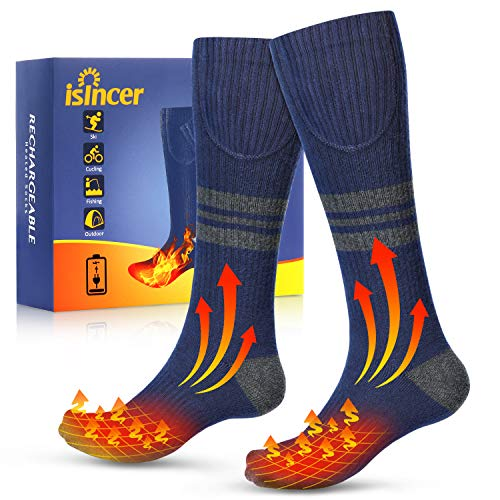 Isincer Heated Socks for Men Women- Rechargeable Electric Heating Socks with 4400mAh Large Capacity Battery,3 Heating Settings Electric Heated Socks for Skiing Camping Running Fishing