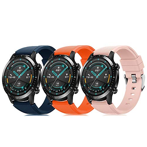 Pack de 3 pulseras de 22 mm compatibles con Huawei Watch GT 2 / Samsung Galaxy Watch 46 mm / Gear S3 correa de reloj de silicona suave, cierre rápido, repuesto transpirable DE71003 (color 19-21)