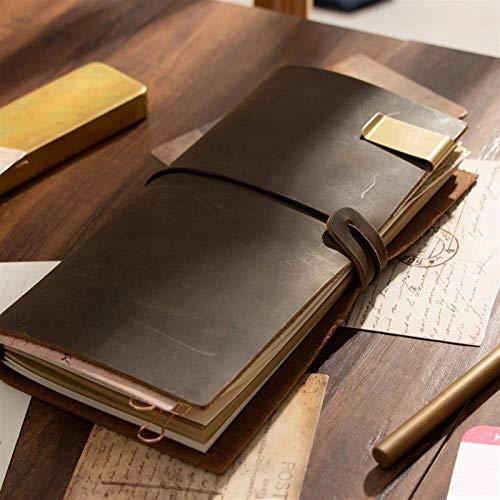 Cuaderno de Notas Viajero Cuaderno Diario de Cuero Hecha a Mano Nota Libro Diario de la Escuela de la Vendimia de Vaca de viajeros estacionaria A5 A6 A7 Mini (Color : Dark Brown, Size : A5 15x22cm)