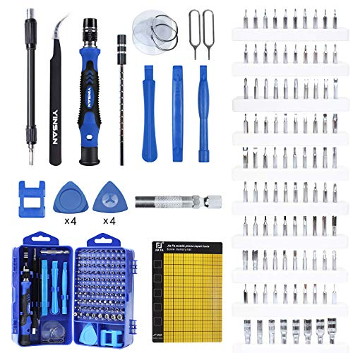 YINSAN 120 in 1 Set Cacciaviti Precisione Magnetici Professionali, Kit Cacciavite di Riparazione Portatile per Orologio, Occhiali, iPhone, iPad, Smartphone, PC, Laptop, Tablet, Elettronica ecc. (Blu)