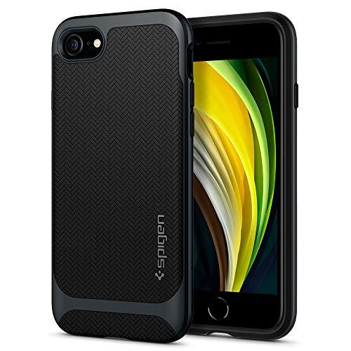 Spigen Neo Hybrid Herringbone Kompatibel mit iPhone SE 2020 Hülle, iPhone 8/7 Hülle 2-Teilige Modisches Muster Schutzhülle Case Metal Slate ACS00952