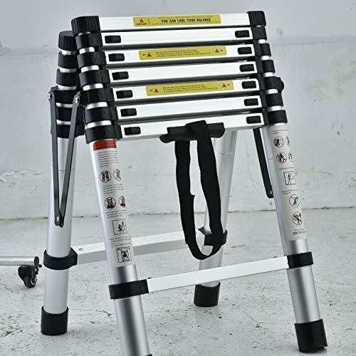 6+7 Step Ladder Aluminum 6.4FT Telescoping Ladder Lightweight Portable A-Frame Ladders with Arm-Design, 330lbs Load Capacity Widen Step Pedal Folding Step Ladder Easy to Transport or Store