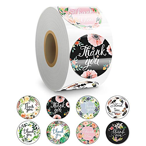 Thank You Stickers, 8 Designs 1 Inch Thank You Labels Roll for Business, Round Adhesive Waterproof Stickers, 500 Thank You Tags Per Roll for Envelopes, Gifts, Boxes & Wedding