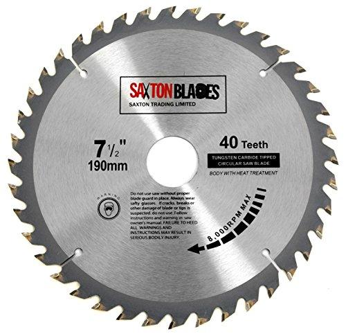 Saxton, lama per sega circolare TCT, per legno, 190 mm x 30 mm (foro) x 40 denti, compatibile con prodotti Bosch, Dewalt e Makita, codice TCT19040T