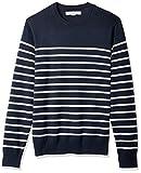 Amazon Essentials Men's Crewneck Stripe Sweater, Navy/White Mariner Stripe, Medium