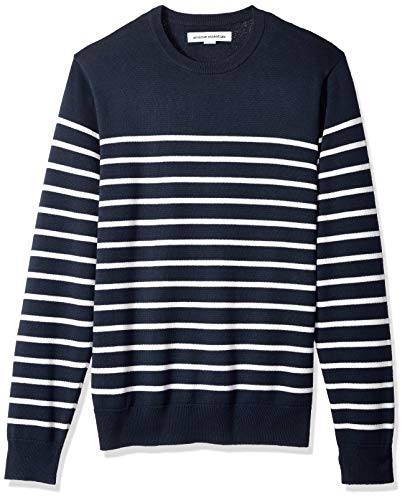 Amazon Essentials Men's Crewneck Stripe Sweater, Navy/White Mariner Stripe, Large