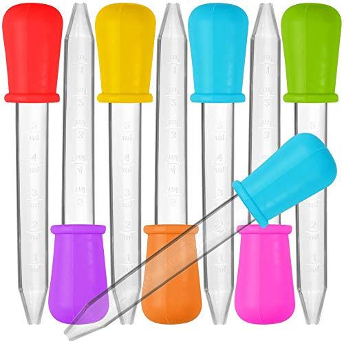 8 Pieza Liquid Dropper, Silicona y plástico pipetas Transfer eyedropper con Bombilla Punta para Caramelos Aceite de Cocina Infantil Gummy Making – 7 Colores
