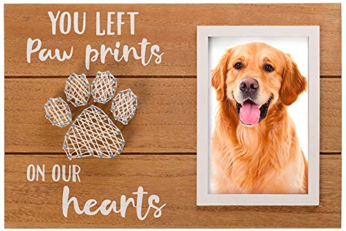 BOOM Moments Pet Memorial Picture Frame | You Left Paw Prints on Our Hearts | Lovely as Loss of Your Dog or Cat | Sympathy Keepsake Gift | 6x4 Inches Photo Opening