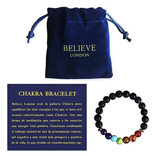 Believe London Pulsera Chakra con Bolsa de Joyería & Tarjeta de Significado | Pulsera Ajustable para Cualquier Muñeca | 7 Chakra Piedra Natural | Sanación Reiki Yoga