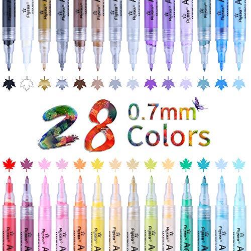 OFUN 28 Colore Rotuladores De Pintura Acrílica, 0.7mm Impermeables lápices acrílico Punta Fina para Pintura rupestre, proyectos de Bricolaje, cerámica, Metal, Papel