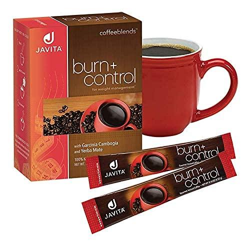Burn + Control Coffee, Premium 100% South American Arabica, Robusta Blend Coffee, Weight Management Herbs, Garcinia Cambogia and Yerba Mate, Javita