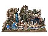 BERTONI Miniatur-Landschaft mit Hellen Fluss und Krippe, Holz, Mehrfarbig, 56x 36x 25cm