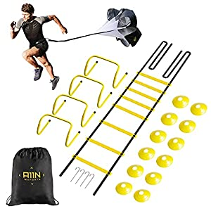 A11N Speed & Agility Training Set- Includes 1 Resistance Parachute, 1 Agility Ladder, 4 Steel Stakes, 4 Adjustable Hurdles, 12 Disc Cones, and a Drawstring Bag   Training Equipment for All Sports from A11N SPORTS