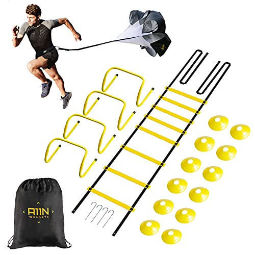 A11N SPORTS Speed & Agility Training Set Enthält 1 Widerstands-Fallschirm, 1 Koordinationsleiter, 4 verstellbare Hürden, 12 Scheiben-Kegel | Trainingsgerät für alle Sportarten, schwarz/gelb