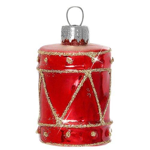 Sikora BS363 Addobbi per Albero di Natale di Vetro - Tamburo Rosso Glitterata