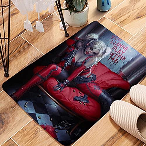 Harley Quinn - Felpudo para interiores y exteriores, decoración de entrada para fiestas, dormitorio, cocina, baño, 40 x 60 cm