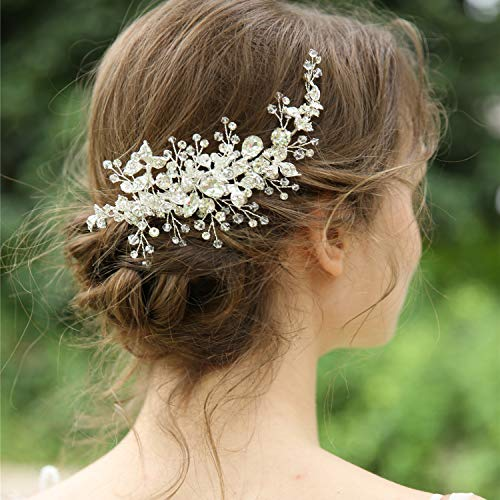 AW BRIDAL Sliver Rhinestones Wedding Hair Clip Bridal Hair Comb Flower Girl Opal Hair Piece Crystal Wedding Hair Accessories for Brides Bridesmaids