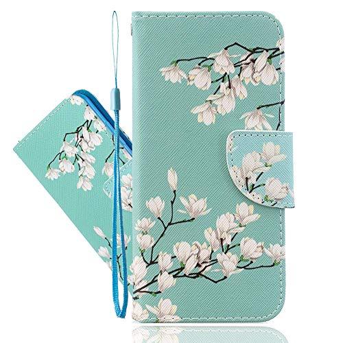 IMEIKONST Funda pintada para Y9 Prime 2019 / Honor 9X, funda de piel sintética, soporte magnético para tarjeta de Huawei P Smart Z/Enjoy 10 Plus Gardenia Flower HX