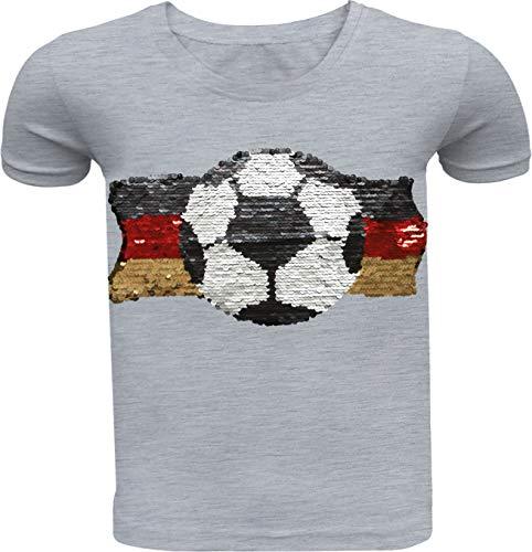 Fußball Kinder Jungen T-Shirt Wendepailletten Hemd Deutschland Germany WM 2018 Rundhals Freizeit (104-110, Grau)