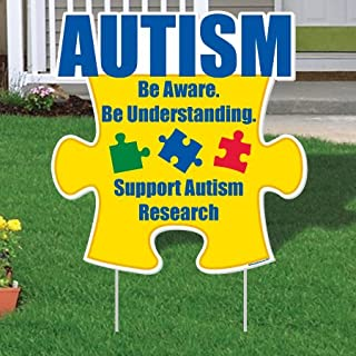 """VictoryStore Yard Sign Outdoor Lawn Decorations - Autism Awareness Puzzle Piece Be Aware."""" Yard Sign Set 21 inches X 21.5 inches with EZ Stakes - Set of 10!"""