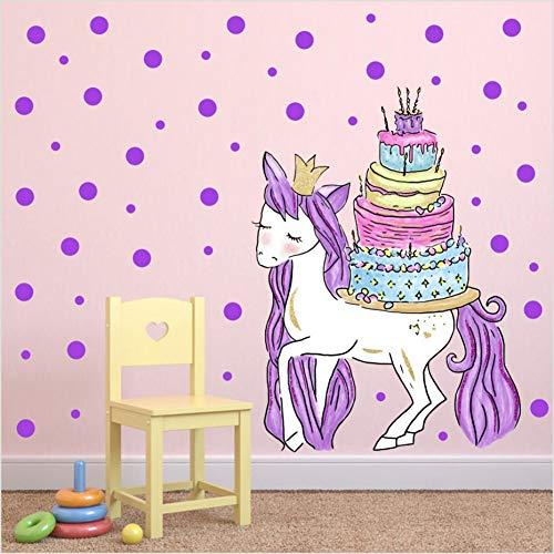 PISKLIU Muurstickers Magic Eenhoorn Paard Met Verjaardag Taart Muursticker Voor Kinderen Kamers Paarse Potten Muurstickers Poster Party Achtergrond Muurdecoratie