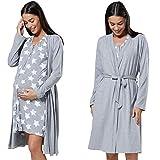 HAPPY MAMA Para Mujer Set Camisón Bata de Premamá Embarazo Lactancia...