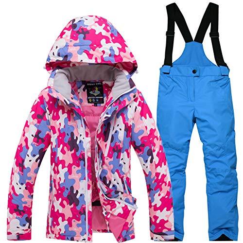 LPATTERN Kinder Jungen/Mädchen Skifahren 2 Teilig Schneeanzug Skianzug(Skijacke+ Skihose), Pink Jacke+ Marineblau Trägerhose, Gr. 152/158(Herstellergröße: XXL)
