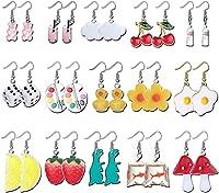 ★ NEUE DANGLE OHRRINGE FÜR FRAUEN ★ Sie können 15 Paar Harz Dangle Drop Ohrringe in einer Bestellung erhalten, einschließlich Obst Ohrringe Würfel Ohrringe Gummibärchen Ohrringe Pilz Ohrringe usw. ★ FUNKY JEWELRY ★ Ästhetische Ohrringe bestehen aus H...