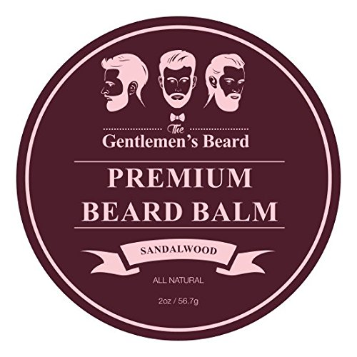The Gentlemens Premium Sandalwood Beard Balm - Leave-in Conditioner & Softener - All Natural - Styles, Strengthens, Thickens & Softens Promoting Healthier Beard & Mustache Growth