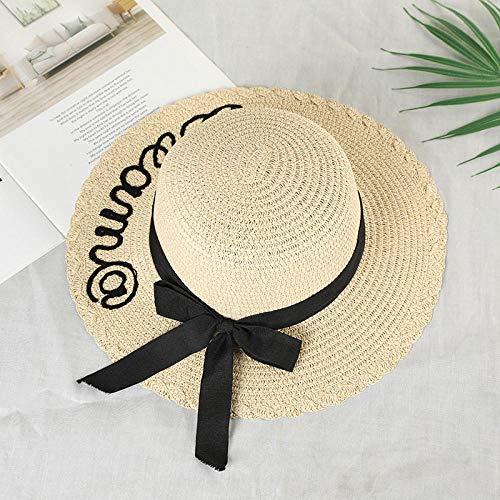 Unisex Gorra de ,Sombrero para el sol de moda para padres e hijos Sombreros para el sol para niños lindos Arco hecho a mano para mujeres Sombrero de paja Playa Sombrero de ala grande Sombrero casual