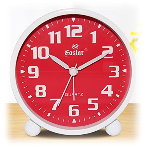 H.yna Reloj Despertador Redondo De10.5cm, Funciona con Pilas, Fácil Configuración Y Función De Luz Nocturna, Reloj Despertador De Viaje para Mesita De Noche Y Armario