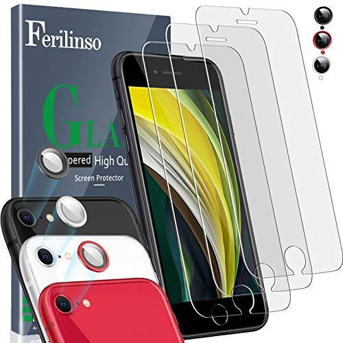 Ferilinso [6 Pack] 3 Piezas Protector de Pantalla para iPhone SE 2020(4.7'') Cristal Templado + 3 Piezas Protector cámara Protector de Lente de Cámara [9H Dureza] [Compatible con la Funda]