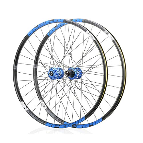 Mountain Bike Wheelset 26/27.5/29 Inches Aluminum Alloy The Classic 6 Pawl 72 Click System Barrel Shaft Quick Release Disc Brake Wheel Set (Color : Blue, Size : 27.5')