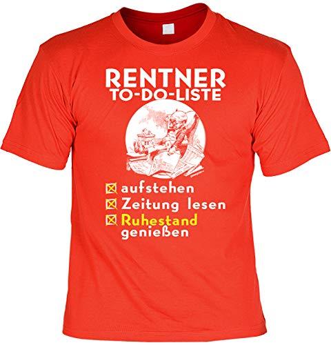 Divertida camiseta de jubilado con frases divertidas – para que lea la lista de cosas en alemán, lea el periódico, disfruta de la jubilación – Camiseta de pensionista. rojo XXL
