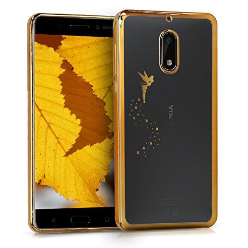 kwmobile Hülle kompatibel mit Nokia 6 (2017) - Hülle Handy - Handyhülle Fee Gold Transparent