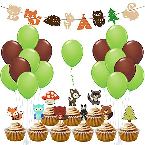 Woodland Creatures Baby Shower - Cupcake Toppers Globos de animales Banner para Nursery Forest Themed Birthday Decorations