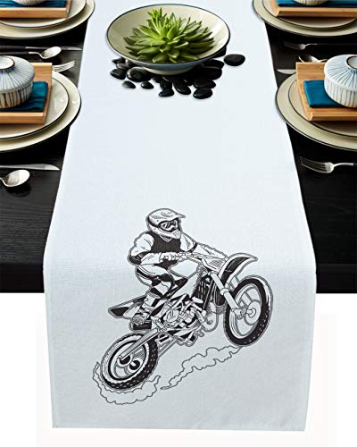 Motocross 13x70inch Table Runner for Dining, Table Runners fit Rectange Round Table Decorations for Parties, Banquets, Graduations