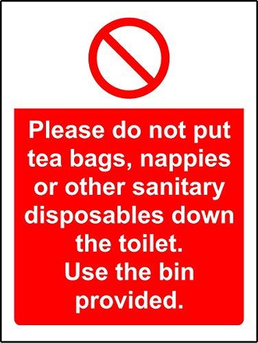 Verbodsborden Plaats geen theezakjes, luiers of ander sanitair op het toilet gebruik de meegeleverde vuilnisbak Veiligheidsbord - Zelfklevende sticker 200mm x 150mm