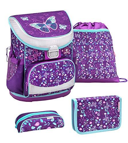 Belmil ergonomischer Schulranzen Set 4 -teilig für Mädchen 1, 2 Klasse Grundschule/Super Leicht 750-800 g/Brustgurt/Schmetterling, Butterfly/Lila, Purple (405-33 Amazing Butterfly)
