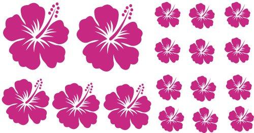 XL Design Set Y in Pink 17 Stück HIBISKUS Blumensticker Autoaufkleber Blumen oder Wandtattoo selbstklebende Aufkleber fürs Auto, Wandsticker Out- & Indoor, Wandbild & Fensterbild wählen Sie aus 32 Farben!