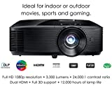 Optoma HD243X 1080p Projector for Movies and Gaming, Super Bright 3300 Lumens, Long 12000h Lamp Life, 3D Support, Easy Setup with Zoom and Keystone Adjustment