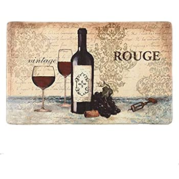 Farmhouse Kitchen Mats Cushioned Anti-Fatigue Comfort Mat for Home & Office Ergonomically Engineered Memory Foam Kitchen Rug Waterproof Non-Skid 30  by 17 ,Wine