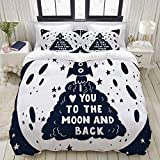 Ropa de Cama - Funda nórdica Espacio escrito a mano Love You Moon Back Holidays Hipster Ship Date Sketch Slogan Day Drawn Relation,Microfibra Nuevo Set de Tres Piezas Funda de edredón 200 x 200 cm