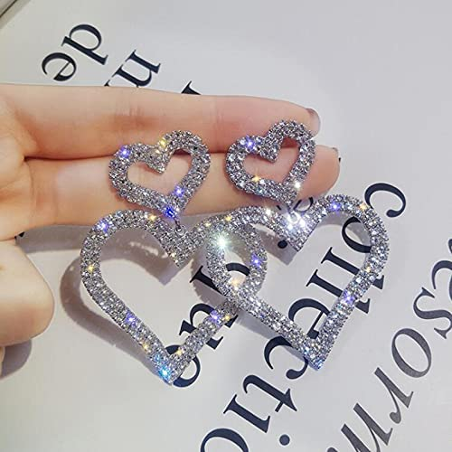 ShSnnwrl Aretes Pendientes Mujer de Plata Hombre Pendiente Pendientes con Forma de corazón Pendientes de Diamantes de imitación geométricos