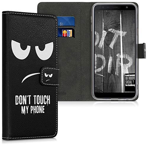 kwmobile Hülle kompatibel mit Samsung Galaxy J4+ / J4 Plus DUOS - Kunstleder Wallet Hülle mit Kartenfächern Stand Don't Touch My Phone Weiß Schwarz