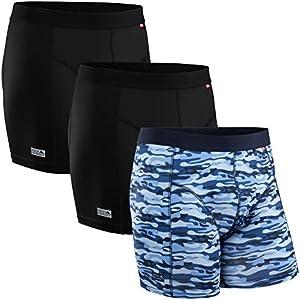 Calzoncillos Bóxers de Deporte para Hombre, Secado Rápido, Transpirable, Resistentes al Olor, Suave, Ligero, Ropa Interior para Deporte, Pack de 3 (Multicolor: 2 x Negro, 1 x Azul Camuflaje, X-Large)