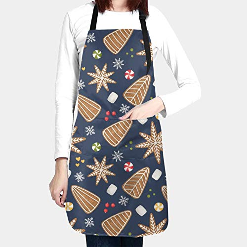 Christmas Apron Gingerbread As Snowflake And Tree Water Proof Baking Apron For Women Men With 2 Front Pockets And Adjustable Neck & Long Ties For Everyday Basic Home Kitchen Artist Crafting Restaurant