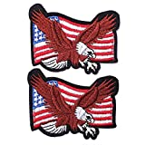 J.CARP 2 Pack The Eagle and American US Flag Patch, Embroidered Sew on Iron on Patches