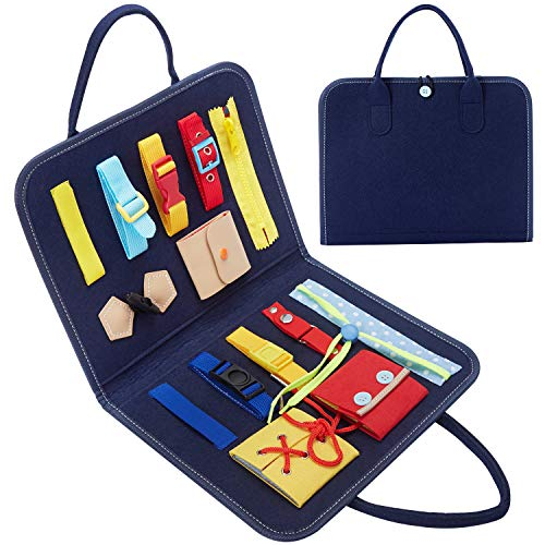 HAN-MM Busy Board Montessori Toys for Toddlers Foldable 14 PCS Sensory Toys Autism Toys Bag Desgin Toddler Activity Board - Educational Learning Toys