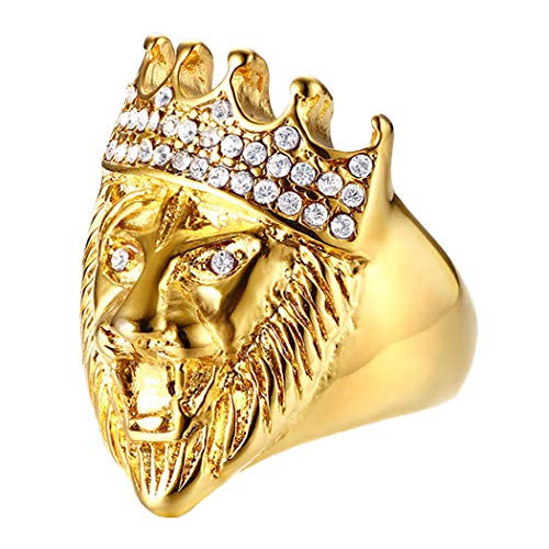 Gorntmoot Vintage Lion Head Rings Mens Stainless Steel Rings Punk Style Gothic Biker Ring (Gold 9)